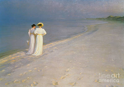 Beach Scene Painting - Summer Evening On The Skagen Southern Beach With Anna Ancher And Marie Kroyer by Peder Severin Kroyer