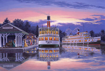 Steam Ships Painting - Summer Evening by Richard De Wolfe