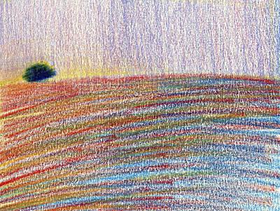 Provence Drawing - Summer Field by Elizabetha Fox