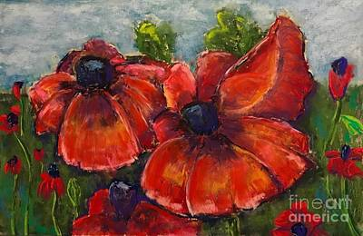 Pastel - Summer Field Of Poppies by Vickie Scarlett-Fisher