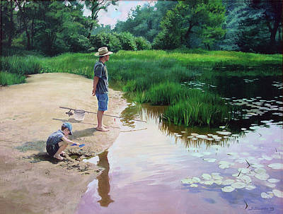 Art Print featuring the painting Summer Fishing by Sergey Zhiboedov