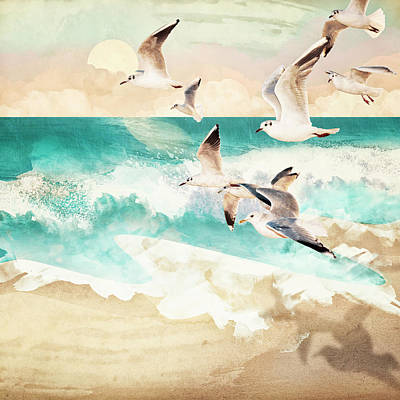 Abstract Beach Landscape Digital Art - Summer Flight by Spacefrog Designs