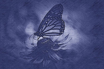 Invertebrates Mixed Media - Summer Floral With Monarch Butterfly 02 Blue by Thomas Woolworth