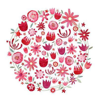 Bright Pink Painting - Summer Flower Circle by Nic Squirrell
