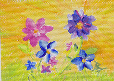 Painting - Summer Flowers Aceo   by Brenda Thour