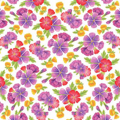 Summer Flowers Pattern Art Print by Irina Sztukowski