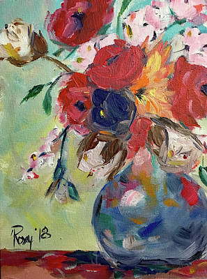 Pink Painting - Summer Flowers by Roxy Rich