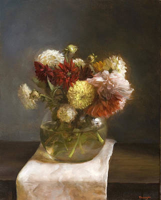 Classical Realism Painting - Summer Flowers by Thimgan Hayden