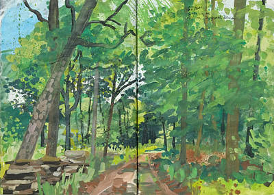Painting - Summer Forest,nature Diary Study by Martin Stankewitz