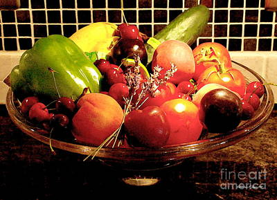 Photograph - Summer Fruit And Veggies Still Life -- Another Fresh Paintograph by Christine S Zipps