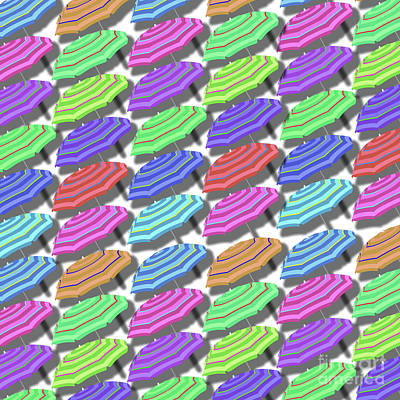 Umbrella Mixed Media - Summer Fun Beach Umbrellas Pattern by Edward Fielding