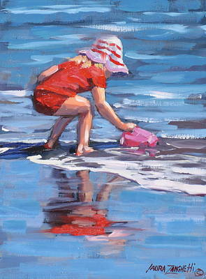 Reflections In Water Painting - Summer Fun by Laura Lee Zanghetti