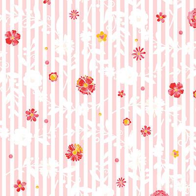 Mixed Media - Summer Garden Floral Pattern by Heinz G Mielke