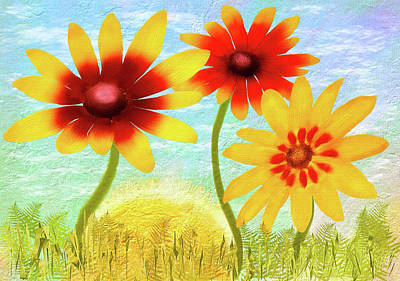 Digital Art - Summer Garden Sunrise by Bill Johnson