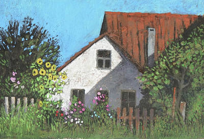 Painting - Summer Garden,rural Cottage With Sunflowers by Martin Stankewitz