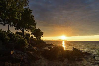 Photograph - Summer Gold - Sparkling Sunrise On The Shore Of Lake Ontario In Toronto by Georgia Mizuleva