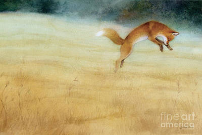 Foxes Painting - Summer Gold Fox by Tracy Herrmann