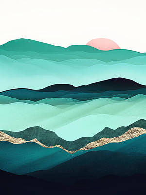 Abstract Landscape Digital Art - Summer Hills by Spacefrog Designs