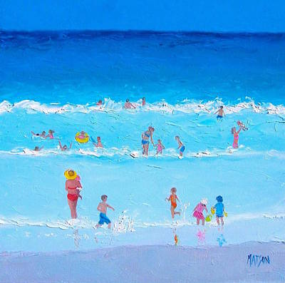 Whimsical Beach Painting - Summer Holiday At The Seaside by Jan Matson