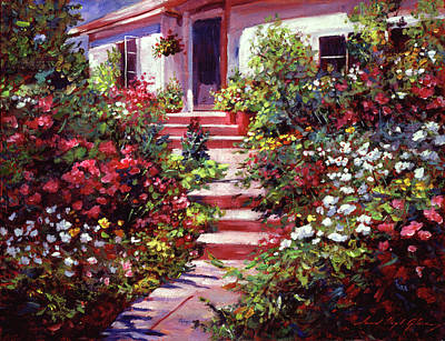 Hanging Basket Painting - Summer Holiday Cottage by David Lloyd Glover