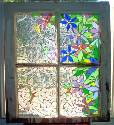 Glass Art - Summer Hummers by Liz Lowder
