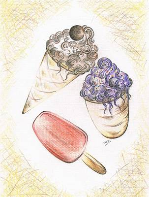 Blueberry Drawing - Summer Ices by Teresa White