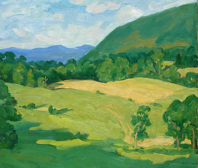 Abstract Realist Landscape Painting - Summer Idyll Berkshires by Thor Wickstrom