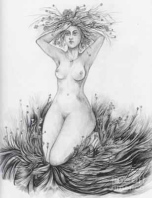 Art Print featuring the drawing Summer II by Anna  Duyunova