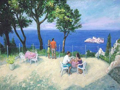 Purple Flowers Painting - Summer In Corfu  by Sandra Delaney