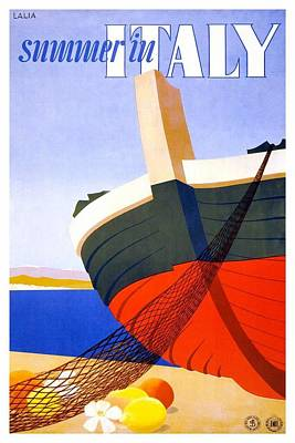 Royalty-Free and Rights-Managed Images - Summer in Italy - Bow Of a Fishing Boat With Net - Retro travel Poster - Vintage Poster by Studio Grafiikka
