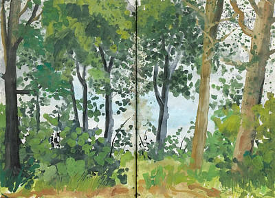Painting - Summer In Oak And Beech Forest,nature Diary by Martin Stankewitz