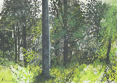 Painting - Summer In The Beech And Oak Woods,gouache Painting,sketchbook by Martin Stankewitz
