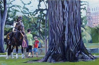 Boston Painting - Summer In The Boston Public Gardens by Deb Putnam
