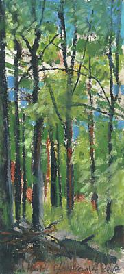 Painting - Summer In The Forest Plein Air Oil Pastel Study by Martin Stankewitz