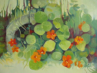 Art Print featuring the painting Summer In The Garden by Elena Oleniuc