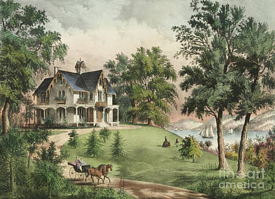 Horse And Carriage Wall Art - Painting - Summer In The Highlands, 1867 by Currier and Ives