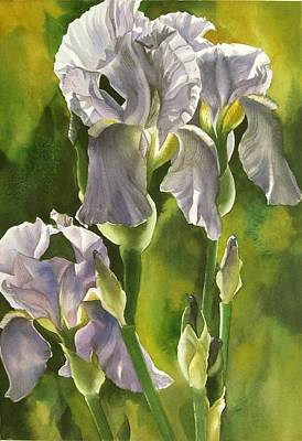 Art Print featuring the painting Summer Irises by Alfred Ng
