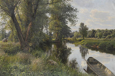 Painting - Summer Landscape With River Floodplain by Peder Monsted