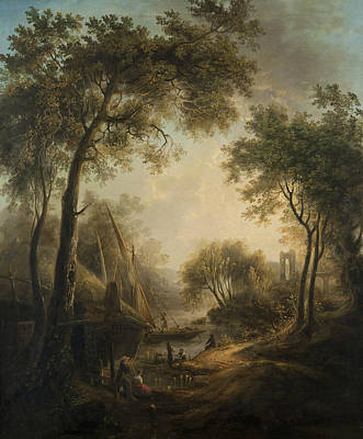 Painting - Summer Landscape With Water And Tall Trees by Elias Martin