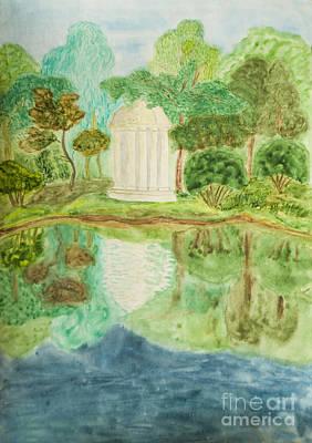 Painting - Summer Landscape With White Pavilion, Watercolours by Irina Afonskaya