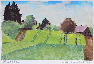 Painting - Summer Landscape,village And Farmland Fields by Martin Stankewitz