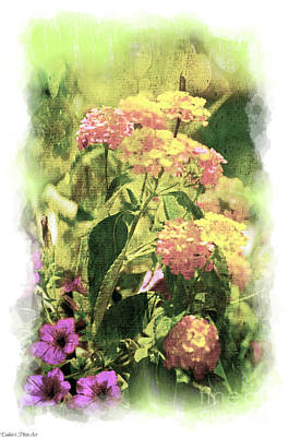 Photograph - Summer Lantana Garden - Digital Paint - 2  by Debbie Portwood