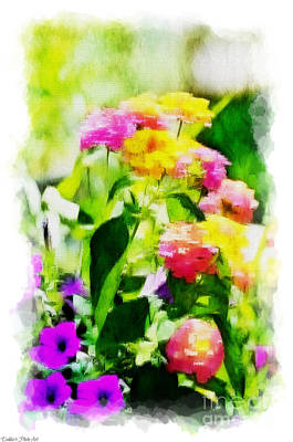 Photograph - Summer Lantana Garden - Digital Paint 3 by Debbie Portwood