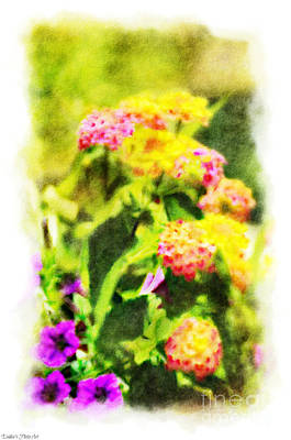 Photograph - Summer Lantana Garden - Digital Paint - 5 by Debbie Portwood