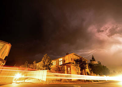 Photograph - Summer Lightning And Light Trails In A Suburban Setting At Night In Reno Nevada by Brian Ball
