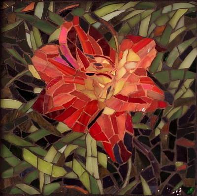 Glass Art - Summer Lily by Julie Mazzoni