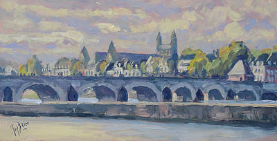 Painting - Summer Maas Bridge Maastricht by Nop Briex