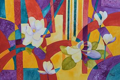 Painting - Summer Magnolias by Nancy Jolley