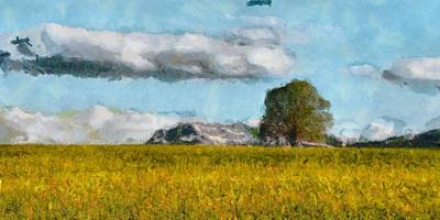 Mixed Media - Summer Meadow Tree Art Landscape Painting by Wall Art Prints