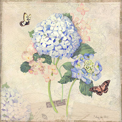Bloom Art Mixed Media - Summer Memories - Blue Hydrangea N Butterflies by Audrey Jeanne Roberts